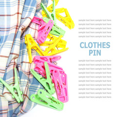 Colorful clothes pin isolated on white background
