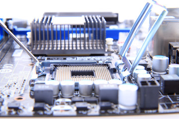 detail of modern computer mainboard (motherboard)