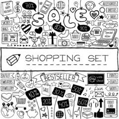 Shopping doodle set.