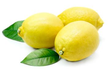 Three ripe whole lemons