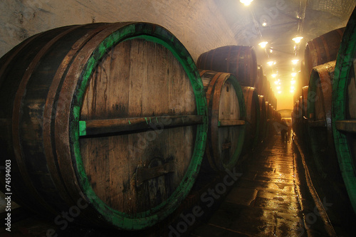 Tuinposter Praag underground cellar with big oak barrel