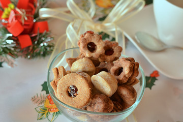 Christmas cookies decorated  on  plate
