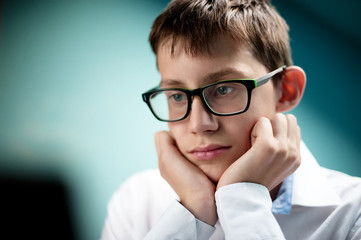 Portrait of a young boy student