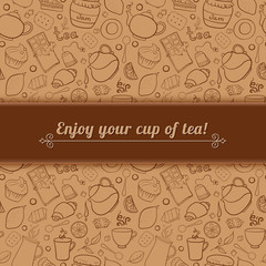 Tea and sweets vector background