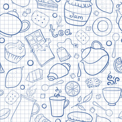 Tea and sweets vector seamless pattern on exercise book