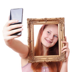 selfie with picture frame