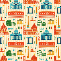 Landmarks of Italy seamless pattern