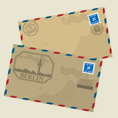 Old postage envelopes with stamps, vector