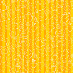 Tea and sweets vector seamless pattern on striped background