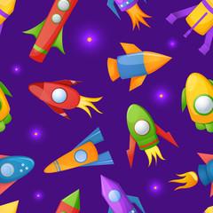 Cartoon rockets 3D vector seamless pattern