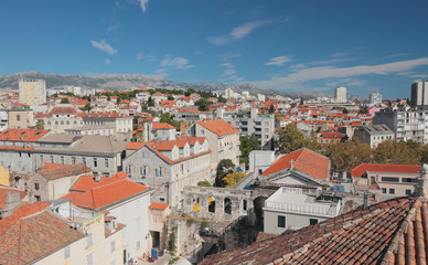 City at foot of Mosor mountains. Split, Croatia