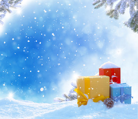 Christmas winter background with gifts