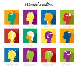 Twelve Zodiac signs vector set
