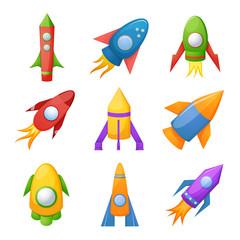 Cartoon rocket 3D vector illustration set