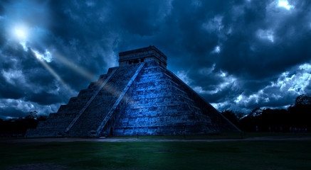 Mexico. Chichen Ittsa.Kukulkan's pyramid in a mystical moonlight