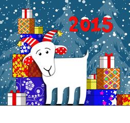 Коза и новогодние подарки. Векторная иллюстрация.