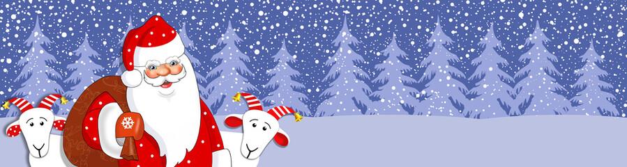 Баннер новогодний с дедом морозом.Векторная иллюстрация.