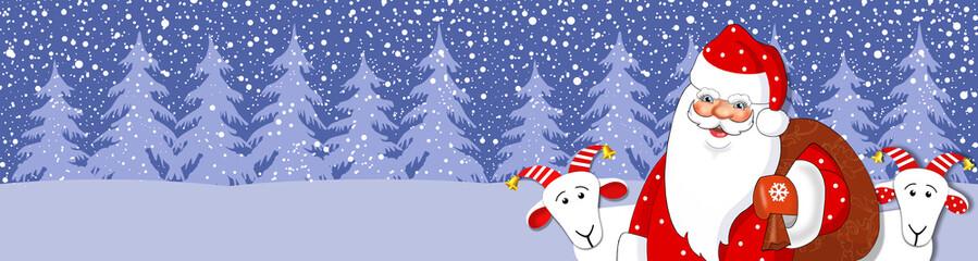 Баннер новогодний  дед  мороз  и коза. Вектор.
