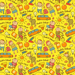Vector seamless pattern of school, cheerful background with