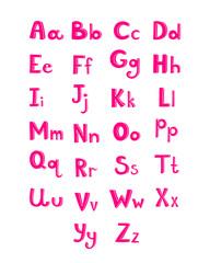Hand drawn type font, pink children alphabet vector illustration