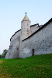 wall with tower in Pskov Krom (Kremlin), Russia poster