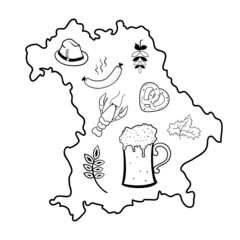 Map of Bavaria with oktoberfest symbols