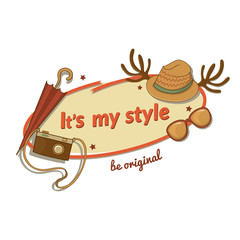 Hipster woman stylish vector label with contemporary touches and