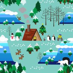Christmas theme landscape seamless pattern close up