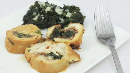 Roast stuffed with spinach