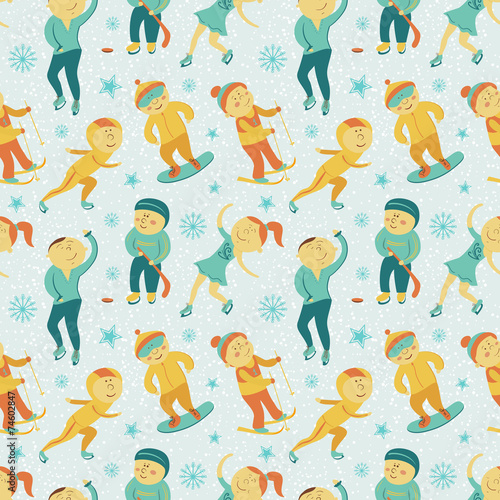 Materiał do szycia Winter Sports seamless pattern with children, vector