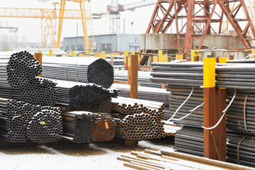 storage of metal pipes in outdoor warehouse