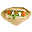 Luxury sandwich steak tartare with egg.