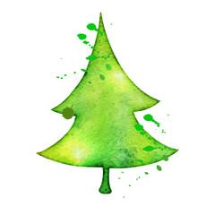 Christmas vector tree in watercolor trending style