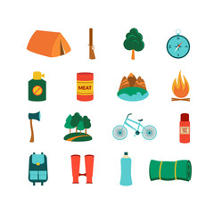 Camping equipment, vector icons