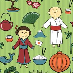 Japan culture vector seamless pattern