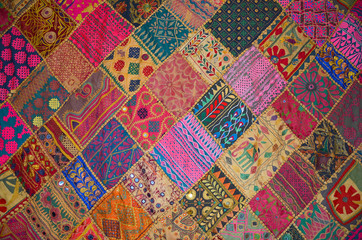 Patchwork bedspread in the eastern style, closeup image