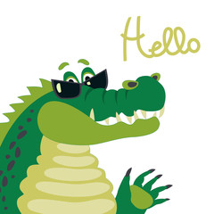 Cute crocodile says hello