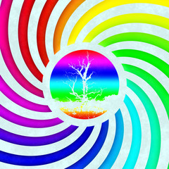 Rainbow swirl tree symbol generated texture