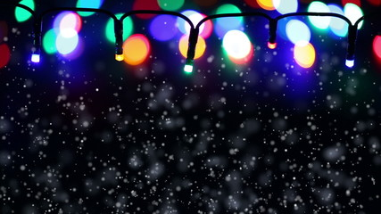LED christmas lights with snow (looping)