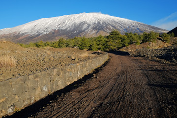 Dirt Track To The Volcano Etna Snow Covered, Sicily