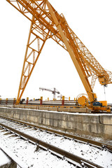 gantry cranes over railroad in outdoor warehouse