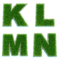Letters K, L, M, N  as Lawn - Set of 3d.