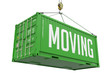 Moving - Green Hanging Cargo Container. - 74607435