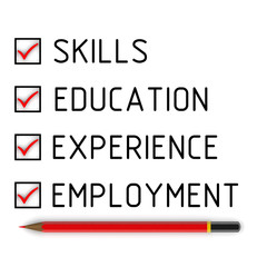 Skills, education, experience, employment