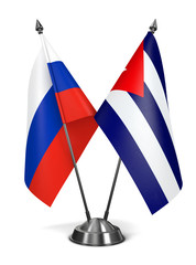 Russia and Cuba - Miniature Flags.