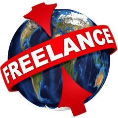 Фриланс (freelance). Глобус с надписью