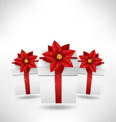 Christmas gift boxes with flower of poinsettia like bows and sha
