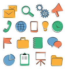 Set of business office flat icons isolated on white