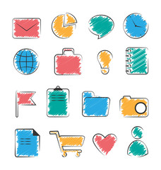 Set of business office flat hand-drawn icons isolated on white b