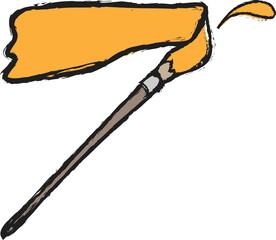 cartoon retro stroke paint brush
